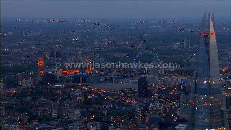 Aerial footage of Waterloo at night, London, England, UK