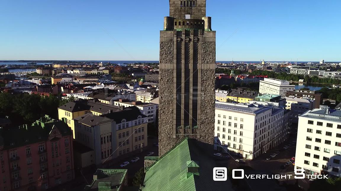 Helsinki Church, Uhd Aerial View Over Kallio Cathedral, Revealing the Cityscape of Helsinki, on a Sunny Summer Morning Dawn, ...