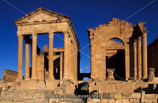 Ruins of Roman temples from the 2nd century, Sbeitla (Sufetula), Tunisia