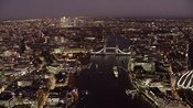 Night aerial footage of London and the Shard.