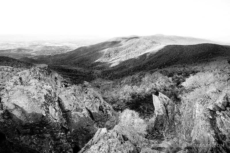 HAWKSBILL MOUNTAIN VIEW SHENANDOAH NATIONAL PARK VIRGINIA BLACK AND WHITE