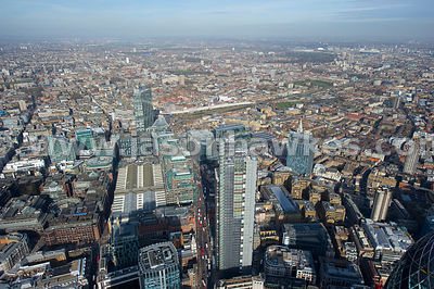 Aerial view of Heron Tower, City of London.
