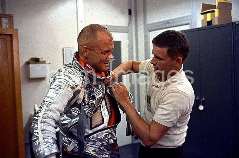 (1962) --- Astronaut John H. Glenn Jr., pilot of the Mercury-Atlas 6 Earth-orbital space mission, is suited up at Cape Canave...