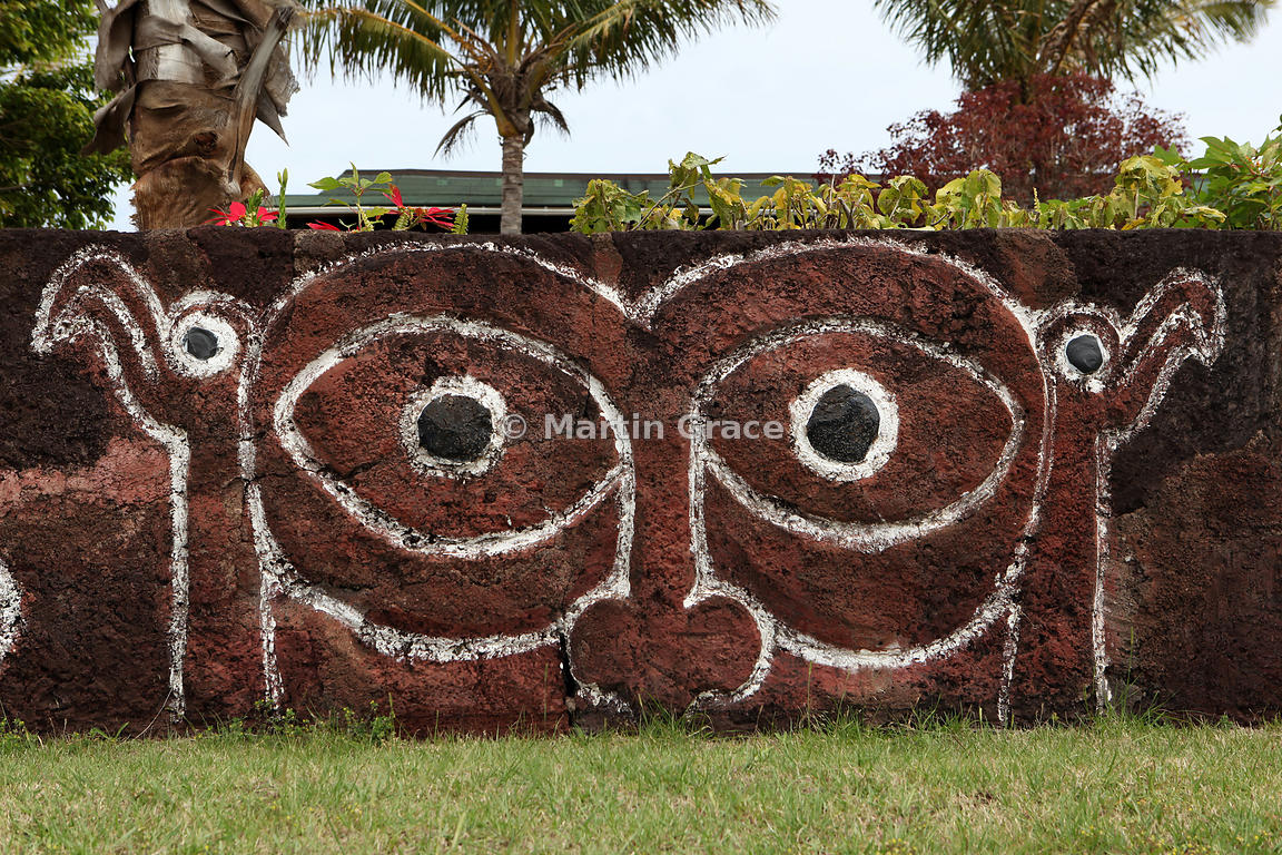 Polynesian motif on wall at Easter Island (Rapa Nui) airport with Birdman cult symbology