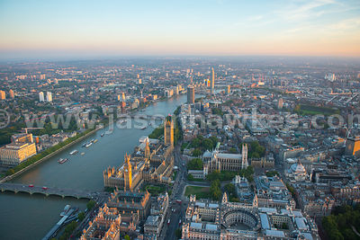 Aerial view of Westminster at sunset, London