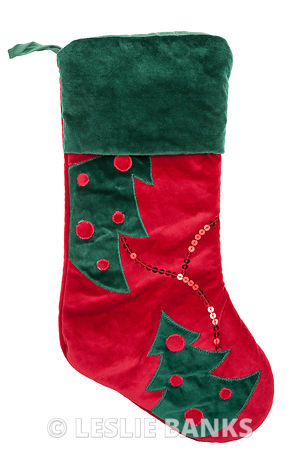 Red and green plush Christmas stocking