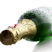 Wet Champagne bottle