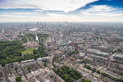 Aerial view of London, Belgravia towards River Thames and London Eye.