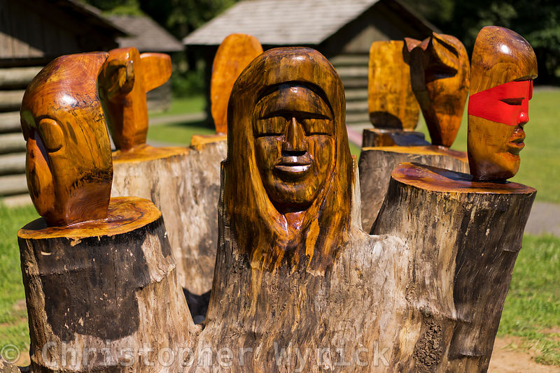 Neat shot of the totems near Blue Hole Springs in Red Clay State Historical Park.  Beautiful image with 3-D feel great for an...