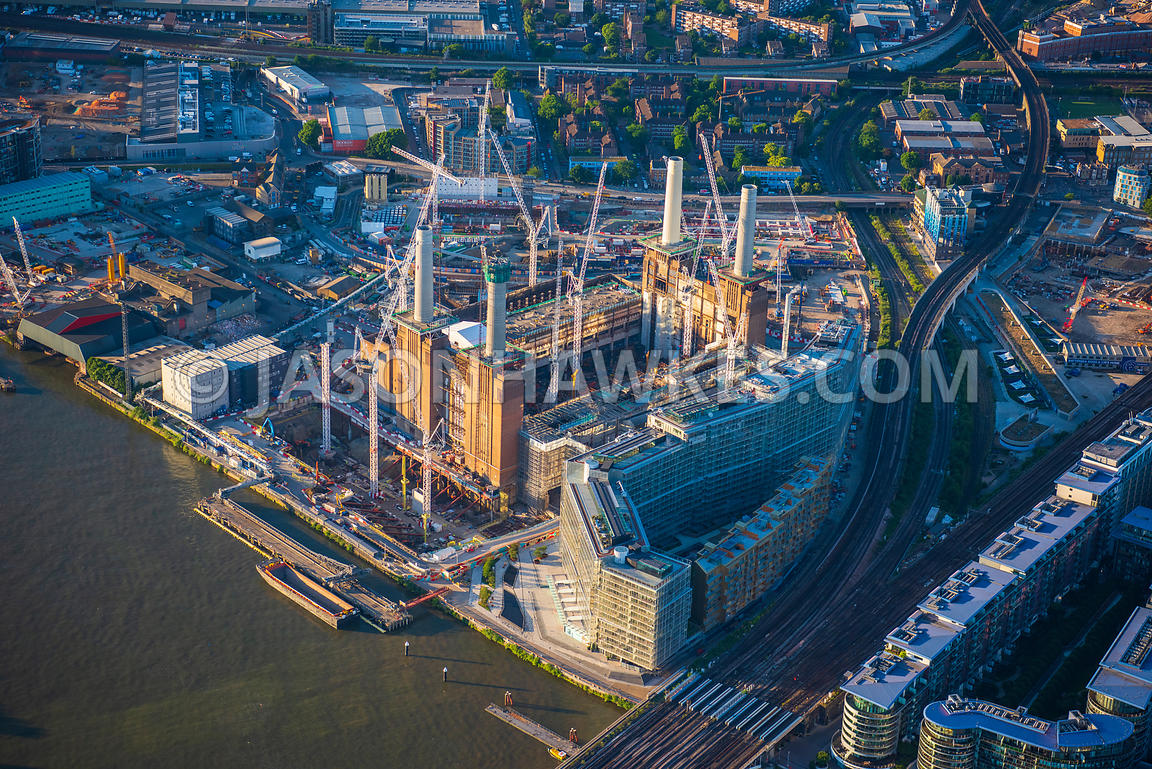 Aerial view of London, Battersea Power Station redevelopment close up.
