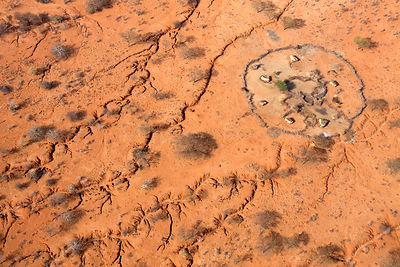Where water once ran: Aerial of erosion that scars the land near a Samburu manyatta in drought stricken Northern Kenya. Augus...