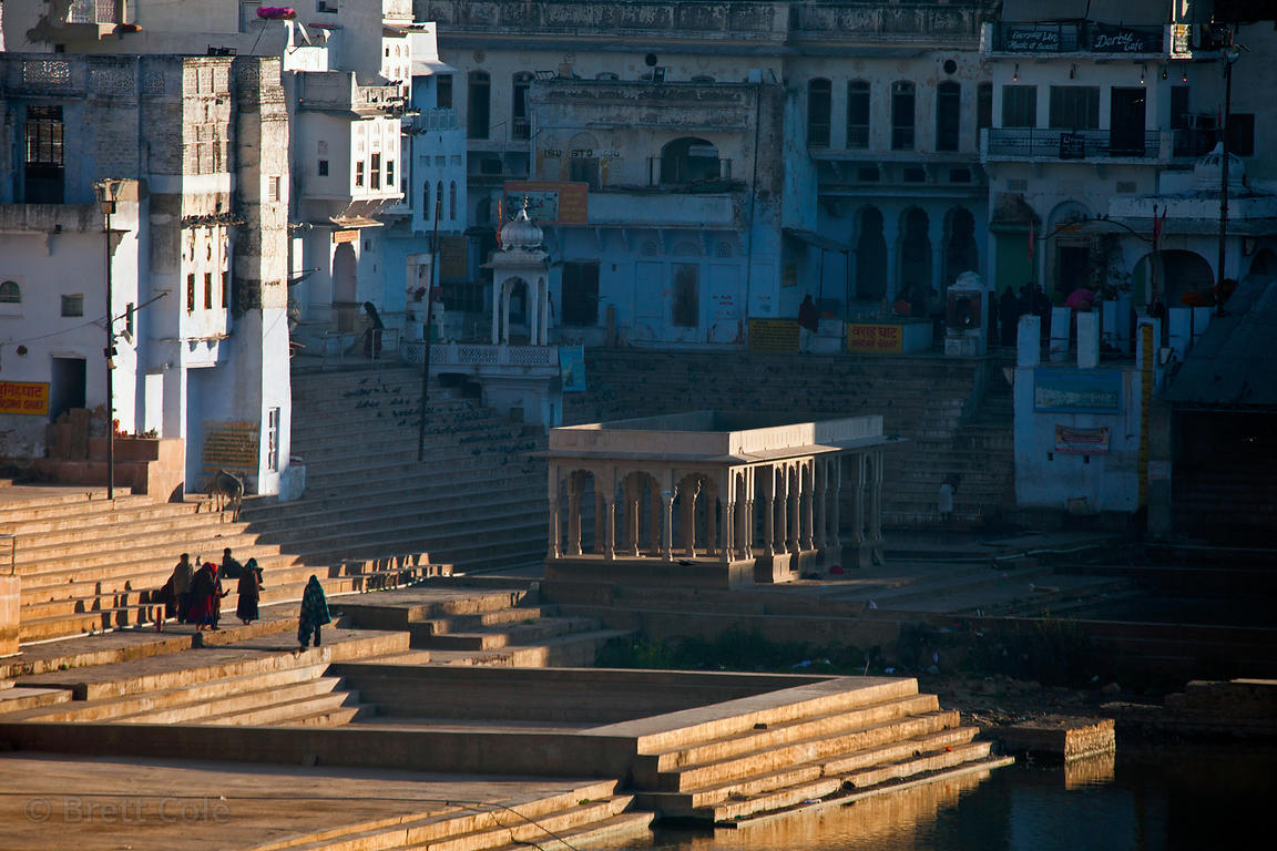 Morning sun on temples in Pushkar, Rajasthan, India