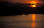 dugout canoe on Lake Malawi at sunrise, Malawi