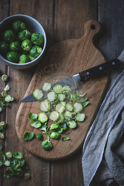Brussels Sprouts on a chopping board