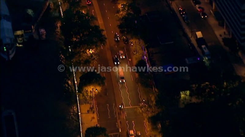 Aerial footage over roads at night, London, England, UK