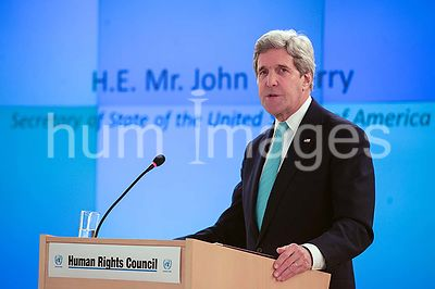 Secretary Kerry Addresses Delegates at UN Human Rights Council Chamber in Switzerland