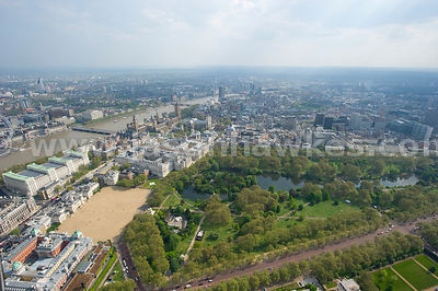 Aerial view over St James's Park, London