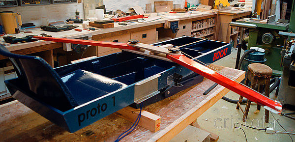 ROCAT proto-1's first seatdeck - the runner moves to the centreline using a sailing sheet track,  but it doesn't work because...
