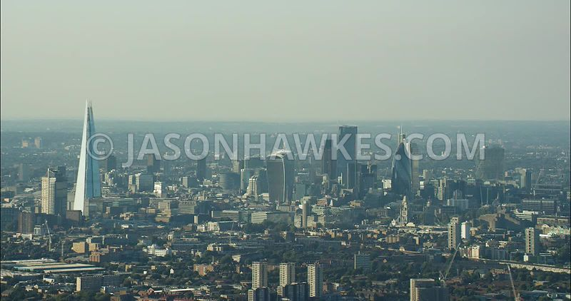 London Aerial Footage of City Skyline and The Shard