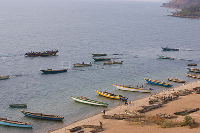 Fishing boats on the shore of Lake Tanganyika .Gombe Stream Reserve, Tanzania
