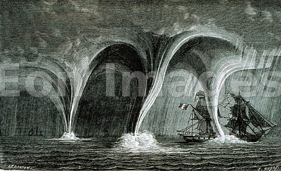 Illustration from 1869 depicting ship in a amid waterspouts