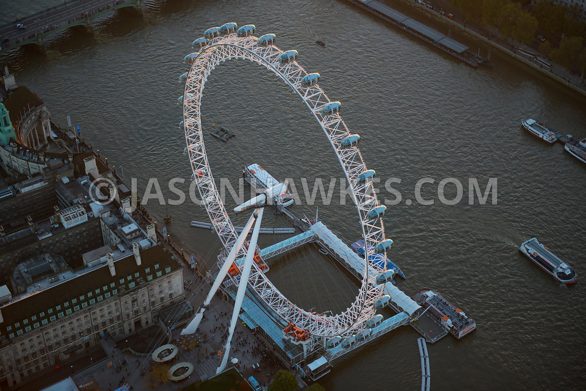 London. Aerial view of the London Eye