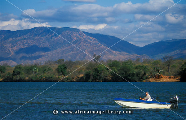 boat on the Zambezi river, Lower Zambezi National Park, Zambia