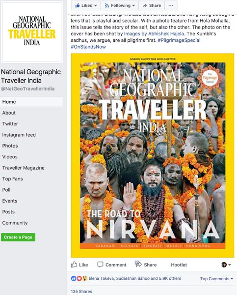 Nat Geo India, Cover Page on Facebook, Nov 06 2017