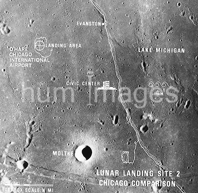 (July 1969) --- A photographic illustration comparing the size of Apollo Landing Site 2 with that of the metropolitan Chicago...