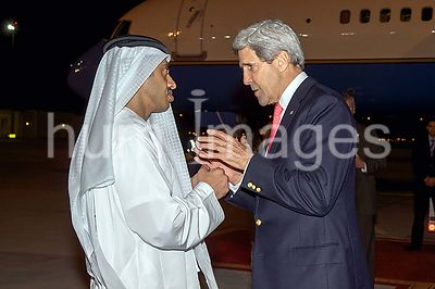Secretary Kerry Chats With UAE Foreign Minister bin Zayad Before Leaving Abu Dhabi