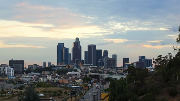 Medium Shot: Downtown L.A. Skyline Looking Southwest (Day to Night)