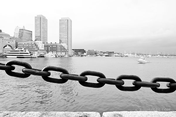 SOUTH BOSTON WATERFRONT AND ROWES WHARF BOSTON BLACK AND WHITE