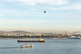 A cargo ship and a ferry in the Bosphorus near Istanbul.