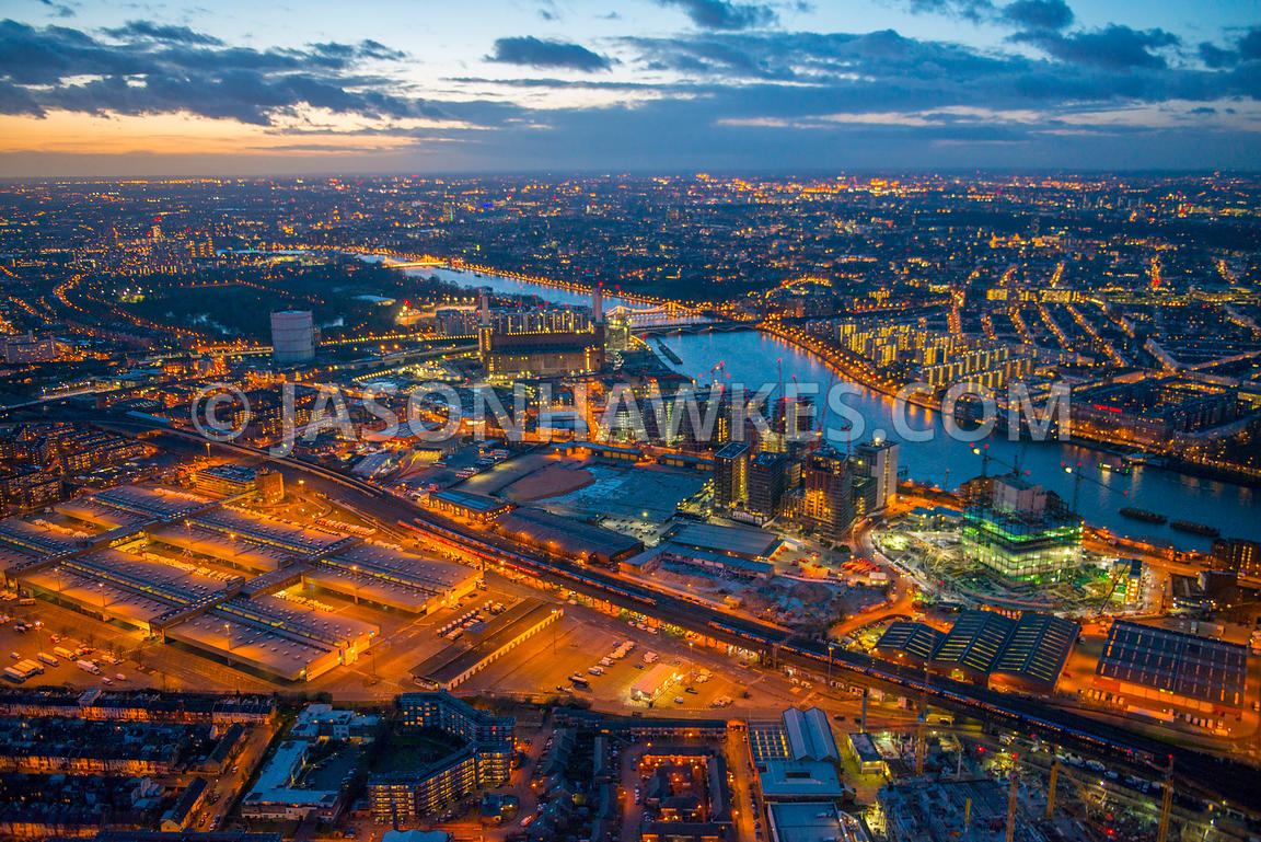 Aerial view of the Nine Elms development at dusk, London