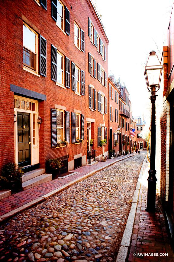 BOSTON BEACON HILL COBBLESTONE STREET COLOR VERTICAL