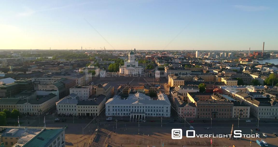 Helsinki Cityscape, Aerial Rising Tilt View of the Helsinki Cathedral and the City, on a Sunny Summer Evening Dusk, in Helsin...