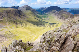 Ennerdale Valley from Green Gable, Lake District, UK.