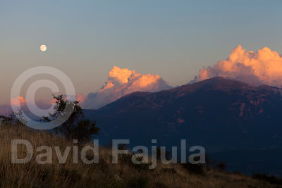 Moonrise at Tossa d'Alp. View just by the France-Catalonia border.