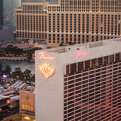 Aerial view of the Flamingo Hotel and surrounding buildings, Las Vegas, Nevada, USA