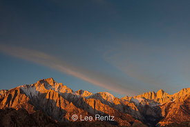 Lone Pine Peak and Mount Whitney at dawn