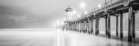 California Pier Black and White Panorama Photo