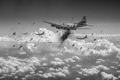 B-17s taking flak black and white version