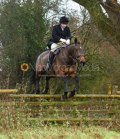 Toby Greenall jumping a hunt jump in Holwell. The Belvoir Hunt at Hill Top Farm 1/12