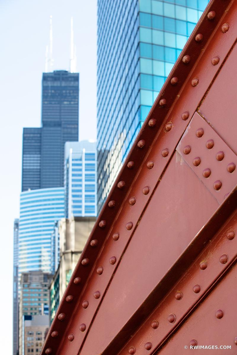 LA SALLE BRIDGE CHICAGO DRAWBRIDGE SEARS WILLIS TOWER CHICAGO ILLINOIS COLOR VERTICAL