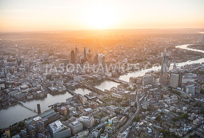Aerial view of City of London with The Shard and Blackfriars Bridges