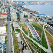 City Skyline and Waterfront, Mt Rainier, Seattle Art Museum's Olympic Sculpture Park, Seattle, WA