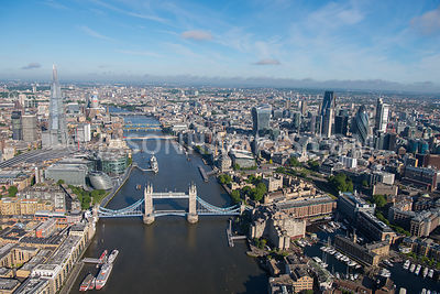 Aerial view of Tower Bridge with  The Shard in the  background