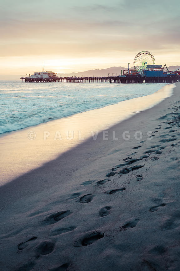 Santa Monica Pier Sunset Retro Vertical Photo