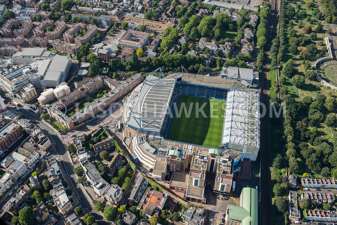 Aerial view of Stamford Bridge Stadium, Chelsea, London