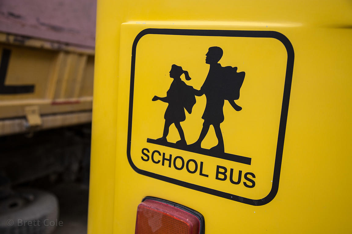Detail of a school bus in Leh, Ladakh, India